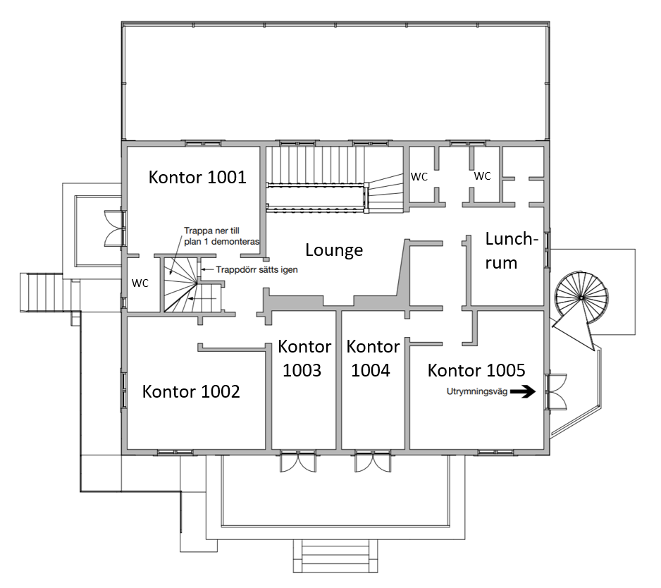 Plan 1 på Villa Skoga